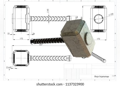 3d illustration of thor hammer above engineering drawing