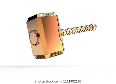3d illustration of thor hammer isolated on white