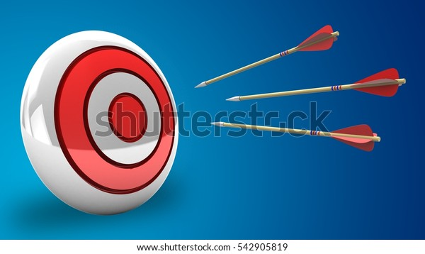 3d illustration of three arrows flight with round target over blue background