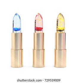 3d illustration of three colored Jelly Lipsticks with flowers inside on white background