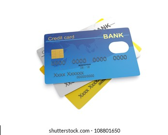 3d illustration: The three credit cards. Gold, platinum and ordinary