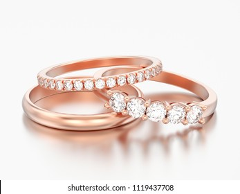 3D illustration three different red rose gold diamonds rings on a grey background