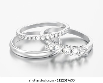 3D illustration three different white gold or silver diamonds rings on a grey background