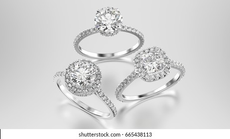 3D illustration three different white gold or silver diamonds rings with reflection on a grey background