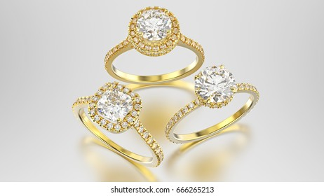 3D illustration three different yellow gold diamonds rings with reflection on a grey background