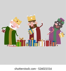 3d illustration. Three Magic Kings  with many gifts.