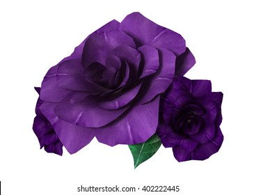 3D Illustration of three purple roses isolated on white background