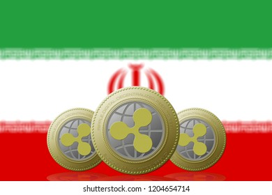3D ILLUSTRATION Three RIPPLE cryptocurrency with Iran flag on background