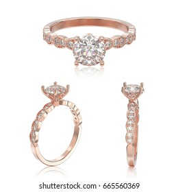 3D illustration three view of rose gold ring with diamonds with reflection on a white background