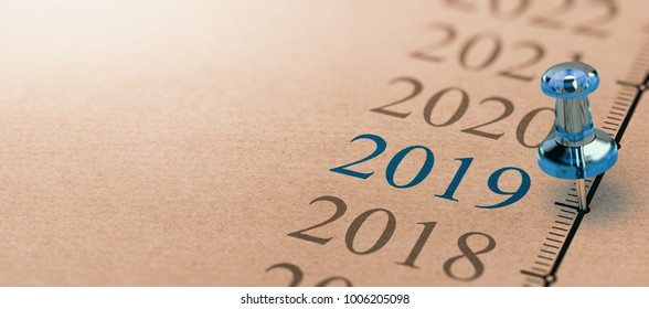 3D illustration of a timeline on kraft paper with focus on 2019 and a blue thumbtack. Year two thousand nineteen