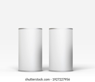 3D Illustration. Tin can mockup isolated on white background.