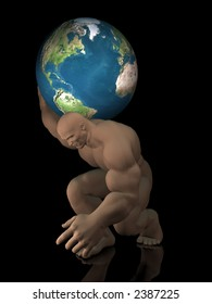 3D illustration of the titan Atlas from Greek mythology carrying the world on his shoulders against a black background