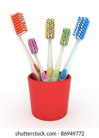 3D Illustration of a Toothbrush Holder Full of Brushes