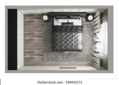 3d illustration of a top view of the bedroom