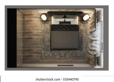 3d illustration of a top view of the bedroom in the evening