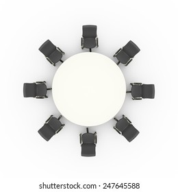 3d illustration top view of office chairs and business conference meeting round table