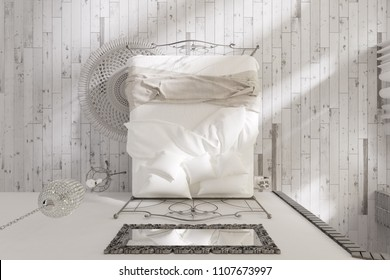 3d illustration. Top view of a white bedroom