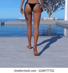 85a36b7f8de8fc 3d illustration of a topless woman from the waist down wearing a black thong  bikini bottom