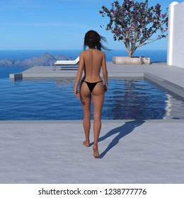 43620844ea42be 3d illustration of a topless woman wearing a black thong bikini bottom  walking toward a swimming