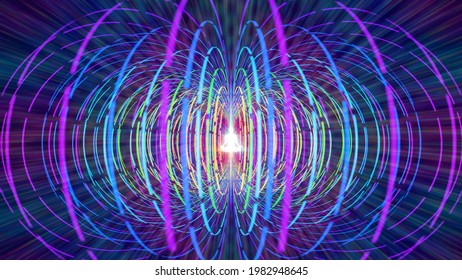 3D illustration torsion field of human energies