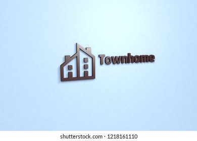 3D illustration of Townhome, brown color and brown text with blue background.