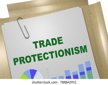 3D illustration of TRADE PROTECTIONISM title on business document