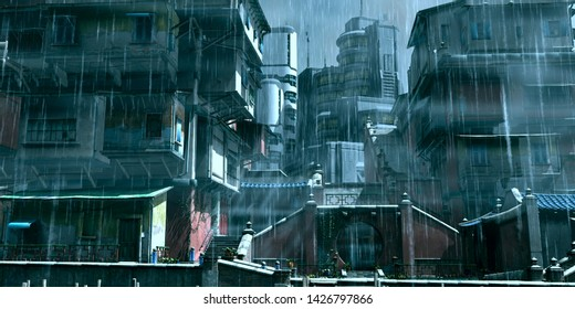3D illustration of a traditional Asian courtyard on a background of futuristic skyscrapers. Canonical cyberpunk scene with rain and fog. Gloomy industrial landscape.
