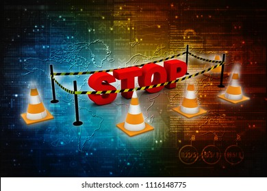 3d illustration traffic cone Spam area