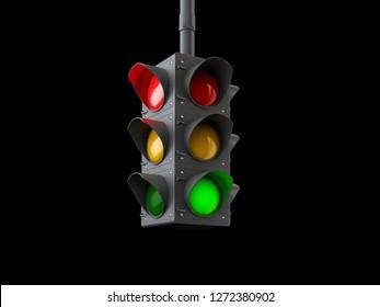 3d Illustration of traffic lights isolated on black