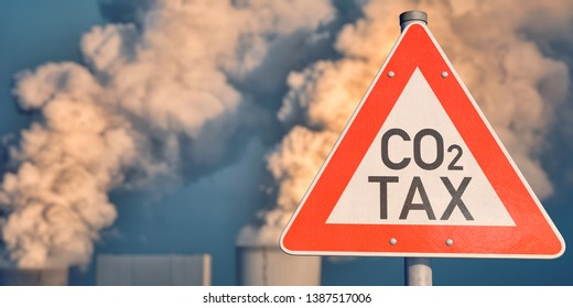 3D illustration, Traffic sign CO2 tax