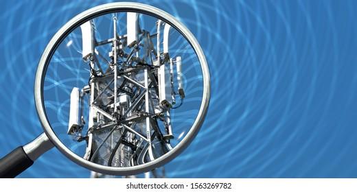3D illustration, Transmission mast radiation is controlled