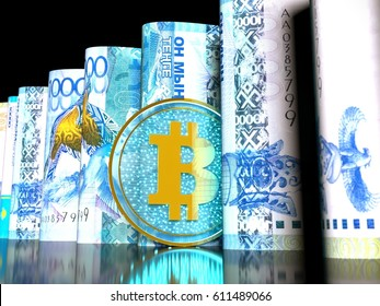 3D illustration of a transparent bitcoin on a 10000 tenge banknotes rolled into a tube