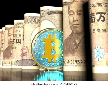 3D illustration of a transparent bitcoin on a 10000 yen banknotes rolled into a tube