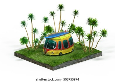3d illustration of travel car with surf board on the roof, green grass and palm trees, sunny hot holiday, cartoon minivan, camping place