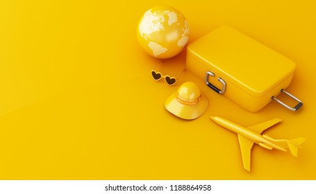 3d illustration. Travel suitcase, airplane, sunglasses, straw hat and world globe, on yellow background. Travel and vacation concept.