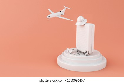 3d illustration. Travel suitcase, airplane, sunglasses and straw hat on pink background. Travel and vacation concept.