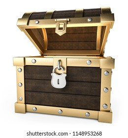3D illustration Treasure chest cut out