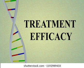 3D illustration of TREATMENT EFFICACY script with DNA double helix , isolated on gray background.