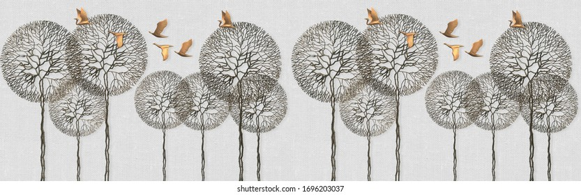 3d illustration of trees and birds