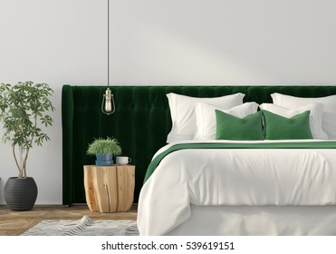 3D illustration. Trendy bedroom interior with green velvet back of the bed and wooden table