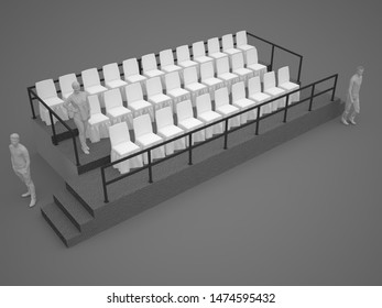 3d illustration tribun with chairs for audience. High resolution image isolated.