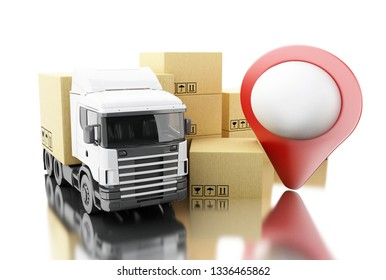 3d illustration. Truck with carboard boxes. Delivery concept. Isolated white background
