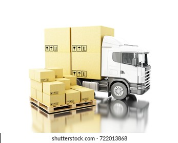 3d illustration. Truck with carboard boxes on pallet. Delivery concept. Isolated white background