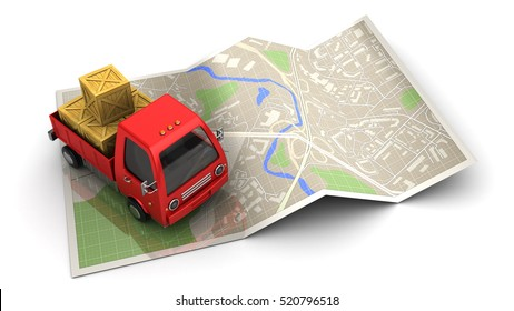 3d illustration of truck with cargo and map, delivery navigation concept