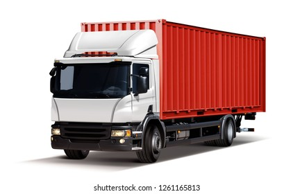 3d illustration of truck delivers freight in the form of container, isolated on white