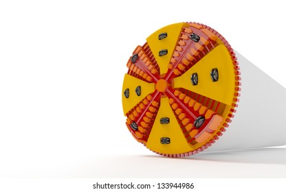 3d illustration of a tunnel boring machine on white background