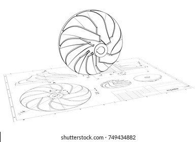 3D illustration of turbo impeller above engineering drawing