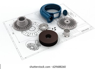 3D illustration of turbo pump on engineering drawing