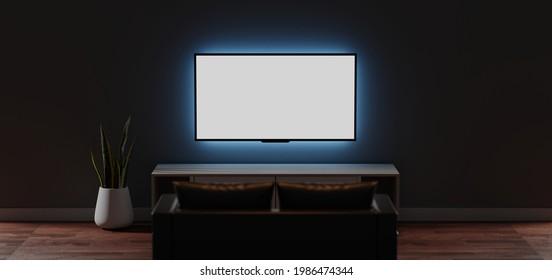 3D-Illustration Tv ist nachts im dunklen Wohnzimmer aufgetaucht. Fernsehschirm, Fernsehschrank, Werk