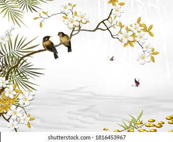 3d illustration of two birds on a flower branch